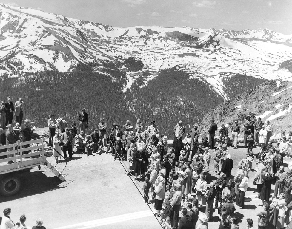 . Trail Ridge Road opening ceremony in Rocky Mountain National Park, Colorado, 1956. (Denver Post Library photo archive)