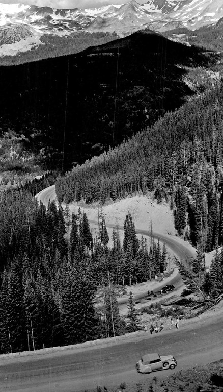 . Descent from Milner pass Trail Ridge Road, Rocky Mountain National Park, Colorado with never summer Range in Background in 1942. (Denver Post Library photo archive)