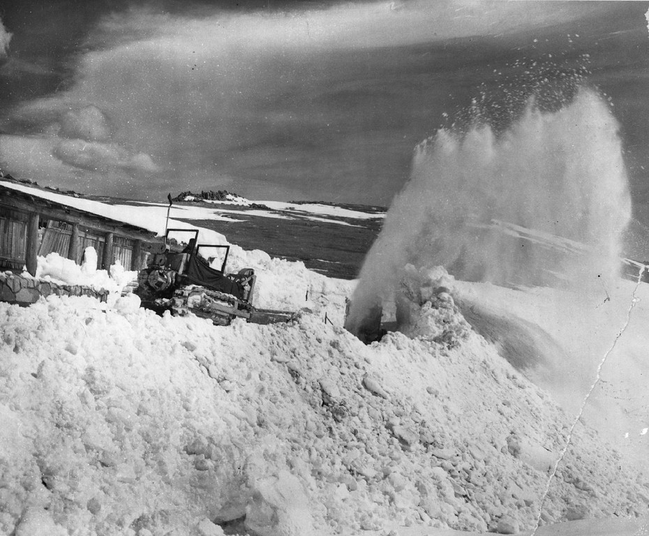 . A Snowplow sends up a spray of snow in Rocky Mountain National Park as crews work hard in a hurry-up effort to have Trail Ridge Road open for the annual ribbon-cutting ceremony in 1959. (AP Wirephoto)