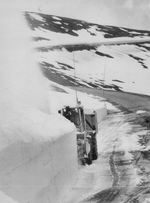 . A rotary snow plow cuts into a 16-foot snow drift on Trail Ridge Road in 1988, chipping away at one of the few obstacles remaining before the seasonal opening of the highest continuous paved highway in the continental United States. Credit: AP Laserphoto