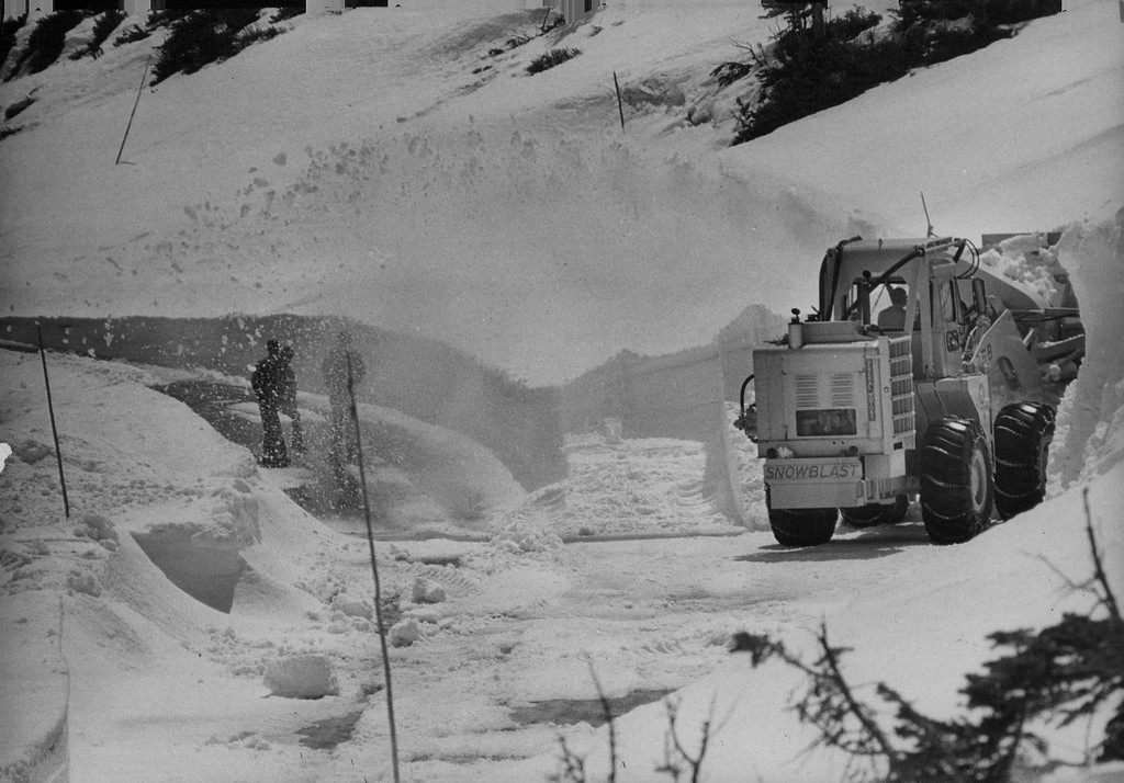 . Rocky Mountain National Park A new rotary snowplow gets a workout so visitors can drive from Denver, over continental divide on trail ridge road and back to Denver in 1974. (Denver Post Library photo archive)
