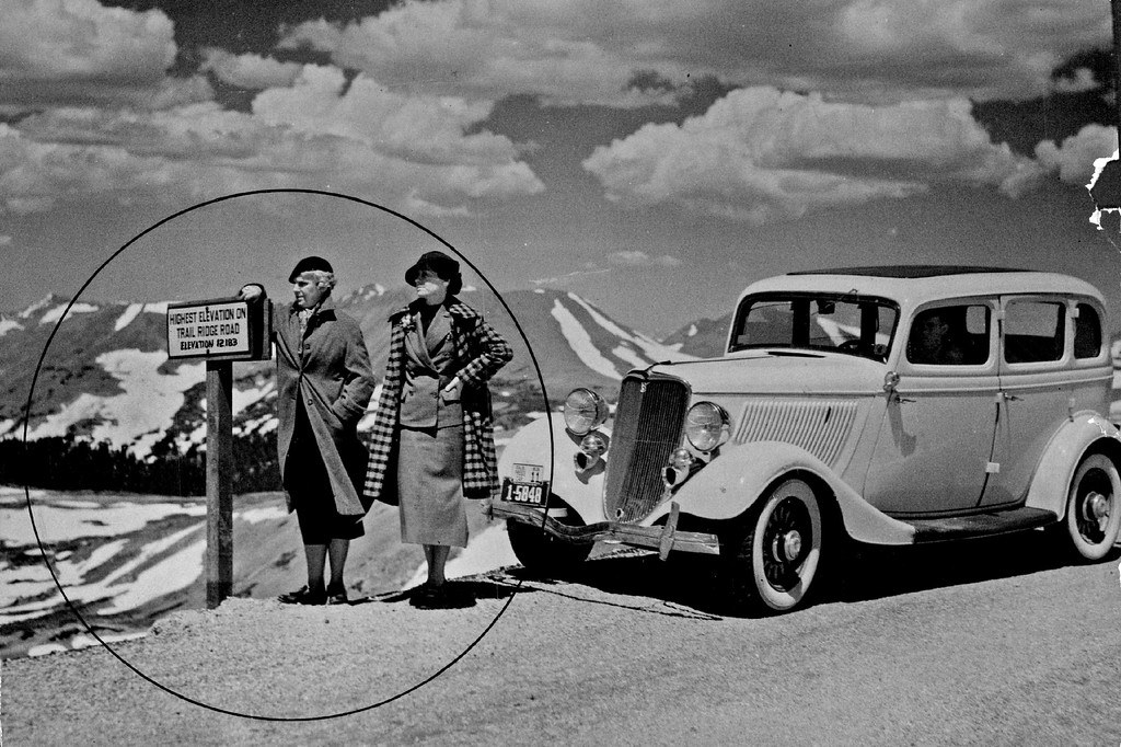 . This picture by Ralph Baird, Denver Post staff photographer, shows young women wearing coats up  where there are still  big patches of snow on Trail Ridge Road in 1936. (Denver Post Library photo archive)