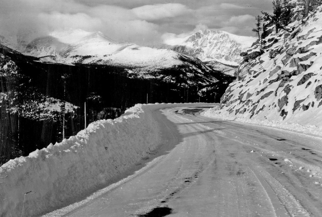 . Trail Ridge Road, Rocky Mountain National Park, Colorado in 1938. (Denver Post Library photo archive)