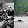 LEFT: August 2, 1976 - Loveland-area firemen search debris along the banks of the Big Thompson River. (Steve Larson/ The Denver Post) RIGHT: A Rescue worker goes door to door checking on residents in north Boulder, September 12, 2013. (RJ Sangosti/The Denver Post)