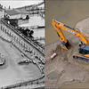LEFT: June 17, 1965 - Sheep crowd onto the high center, surrounded by flood water in their pen at Denver Union Stock Yards. (Ed Maker/ The Denver Post) RIGHT: A pig and a track hoe stranded on a sanding island in flooded land in Milliken, CO Sept. 16, 2013. (Tim Rasmussen/The Denver Post)
