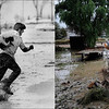 LEFT: April 13, 1973 - William Shamray, Kersey, Colo., races through Floodwaters with a cat he rescued from a roof. (Dave Buresh/The Denver Post) RIGHT: <br /> Jimmy Walker works to remove four chickens from the roof of a shed in Longmont, Colorado September 15, 2013. (Seth McConnell/The Denver Post)