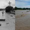 LEFT: June 16, 1965 - A flood washed road in Denver. (Duane Howell/ The Denver Post) RIGHT: Cindy Pasquale wades through flood water on Hygiene Road in Hygiene, CO Sept. 14, 2013. (Craig F. Walker / The Denver Post)