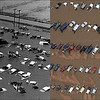 LEFT: June 18, 1965 - A car lot is flooded southeast of Greeley. (Bill Johnson/The Denver Post) RIGHT: Cars in a Junk yard on 37th street in Evans, Colorado. (Tim Rasmussen/The Denver Post)