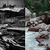 LEFT: August 2, 1976 - A section of road ripped apart by waters of the flooded big Thompson river. (Steve Larson/The Denver Post) RIGHT: A crew approaches a washed out section of road along South Boulder Creek in the Eldorado Canyon State Park, September 18, 2013. (Andy Cross/The Denver Post)