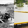 LEFT: Sept. 17, 1969 - Cub Scouts at a flooded playground in Littleton. (Floyd H. McCall/The Denver Post) RIGHT: People check out the flooded Overland High School baseball field in Aurora, Colorado September 12, 2013. (Hyoung Chang/The Denver Post)