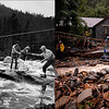 LEFT: August 1, 1976 - Residents evacuate 6 miles east of Estes Park during the Big Thompson River Canyon flood. (Ernie Leyba/The Denver Post) RIGHT: Darian Shaw is rescued by the Alpine Rescue Team in 4 Mile Canyon September 13, 2013 in Salina, Colorado. (Joe Amon/The Denver Post)