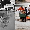 LEFT: July 25 1965 - Tom Larkin, 19, and Herb Bealmar, 17, walk through S. Federal & W. Dakota Ave. (Ed Maker/The Denver Post) RIGHT: Residents in Evans carry out belongings from their flooded homes, September 16, 2013. (RJ Sangosti/The Denver Post)