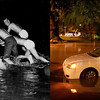 LEFT: 1957 - Storm catches lowry airmen (Ed Maker/The Denver Post) RIGHT: University of Colorado students help push a vehicle from a flooded parking lot in Boulder early Friday morning, September 13, 2013. (Karl Gehring/The Denver Post)