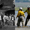 LEFT: August 1, 1976 - Evacuees from the Big Thompson River Canyon flood. (John J. Sunderland/The Denver Post) RIGHT: Residents rescued from areas west of Boulder exit a Colorado National Guard CH-47 Chinook helicopter at Boulder Municipal Airport on Sept. 16, 2013. (Kathryn Scott Osler/The Denver Post)
