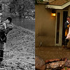 LEFT: June 16 1965 - Effie Nelson, 84, is carried from flooded home near Brighton. (Duane Howell/The Denver Post) RIGHT: Kyle Schuler trudges through the water and mud as Cheryl Schuler is carried from her home by her husband Kim in Boulder, September 12, 2013. (Joe Amon/The Denver Post)