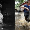LEFT: June 16, 1965 - Emergency personnel assist a flood victim in Denver. (Duane Howell/The Denver Post) RIGHT: Dan Hull, center, is assisted by Brian Marquardt, left, and Scott Johnson outside his flooded home in Hygiene, CO September 14, 2013. (Craig F. Walker / The Denver Post)