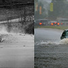 LEFT: 1983 - Cherry Creek Lake and Recreation Area Perimeter Rd. where Cherry Creek runs under it. (Lyn Alweis/The Denver Post) RIGHT: A driver passes through a flooded section of Alameda Ave in Denver, September 12, 2013. (Craig F. Walker/The Denver Post)