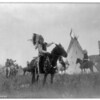 Title: Village herald.  <br /> Date Created/Published: c1907 December 26.  <br /> Summary: Dakota man, wearing war bonnet, sitting on horseback, his left hand outstreched toward tipi in background, others on horseback.  <br /> Photograph by Edward S. Curtis, Curtis (Edward S.) Collection, Library of Congress Prints and Photographs Division Washington, D.C.