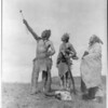 Title: The Oath--Apsaroke.  <br /> Date Created/Published: c1908 November 19.  <br /> Summary: Three Apsaroke men gazing skyward, two holding rifles, one with object skewered on arrow pointed skyward, bison skull at their feet.  <br /> Photograph by Edward S. Curtis, Curtis (Edward S.) Collection, Library of Congress Prints and Photographs Division Washington, D.C.