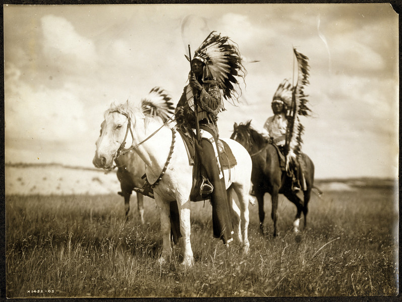 Title: Sioux chiefs.  <br /> Date Created/Published: c1905.  <br /> Summary: Photograph shows three Native Americans on horseback.  <br /> Photograph by Edward S. Curtis, Curtis (Edward S.) Collection, Library of Congress Prints and Photographs Division Washington, D.C.
