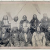 Title: Indian chiefs who counciled with Gen. Miles and setteled [sic] the Indian War -- 1. Standing Bull, 2. Bear Who Looks Back Running [Stands and Looks Back], 3. Has the Big White Horse, 4. White Tail, 5. Liver [Living] Bear, 6. Little Thunder, 7. Bull Dog, 8. High Hawk, 9. Lame, 10. Eagle Pipe<br /> Group portrait of Lakota chiefs, five standing and five sitting with tipi in background--probably on or near Pine Ridge Indian Reservation. 1891.<br /> Repository: Library of Congress Prints and Photographs Division Washington, D.C. 20540 USA
