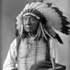 Red Cloud, Dakota Chief, seated holding peace pipe, wearing war bonnet, bust. Barry, D. F. (David Frances), photographer. (Denver Public Library; Western History Collection)
