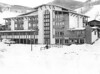 """The Sitzmark at Vail. One of Vail's new lodges boasting under ground parking and located only one block from Vail's number one Gondola. The building has shop space including a ski shop and a Colorado Instruction the """" Red Ram"""". 1970.  Denver Post Library photo archive"""
