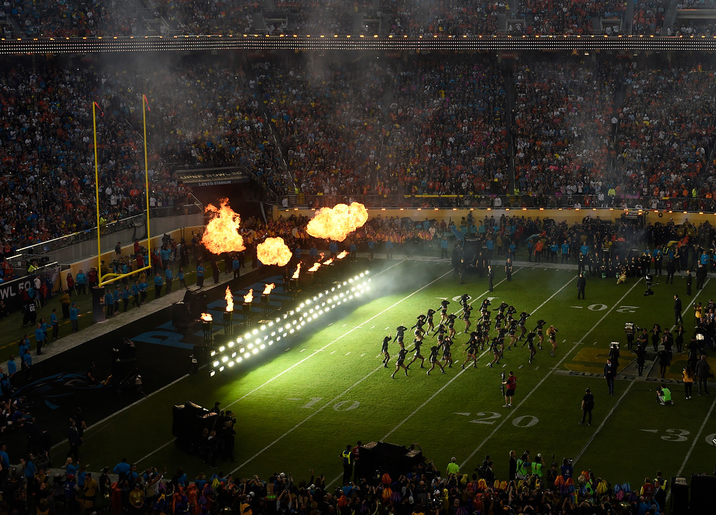 . Celebrity singer Beyonce performing during halftime show of Denver Broncos vs Carolina Panthers game at Levi\'s Stadium, February 7, 2016. (Photo by RJ Sangosti/The Denver Post)