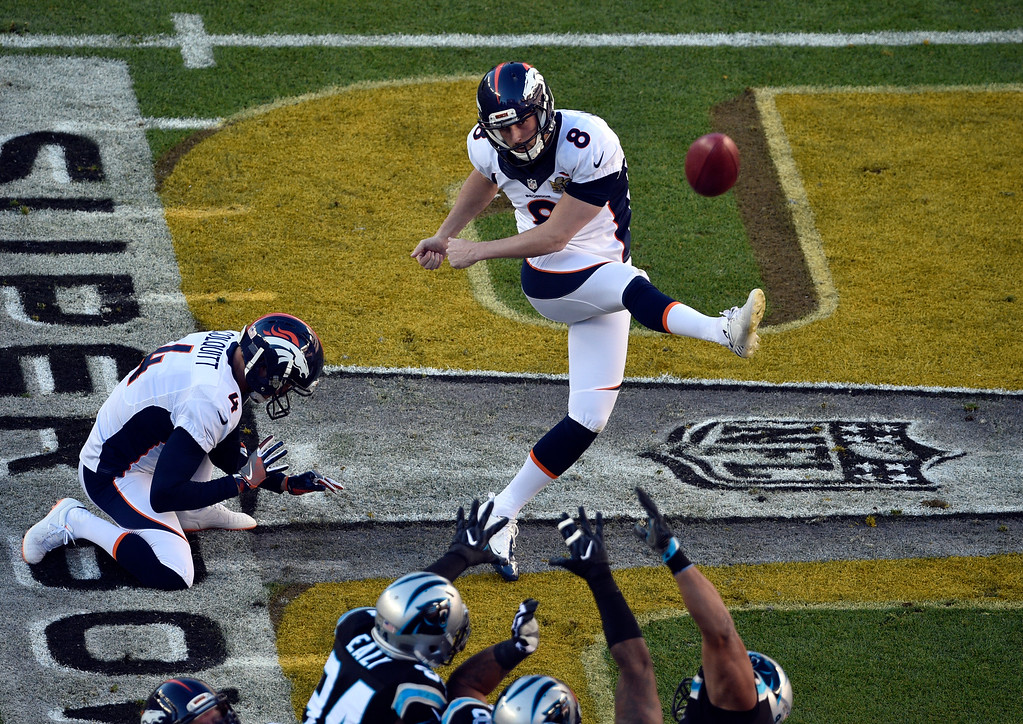 . Brandon McManus (8) of the Denver Broncos kicks a field goal in the first quarter scoring the Broncos first 3 points. The Denver Broncos played the Carolina Panthers in Super Bowl 50 at Levi\'s Stadium in Santa Clara, Calif. on February 7, 2016. (Photo by Helen H. Richardson/The Denver Post)