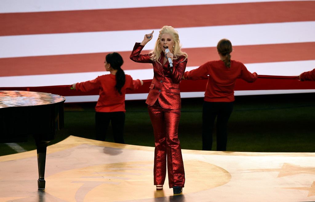 . Lady Gaga sings the National Anthem at the start of Super Bowl 50.  The Denver Broncos played the Carolina Panthers in Super Bowl 50 at Levi\'s Stadium in Santa Clara, Calif. on February 7, 2016. (Photo by John Leyba/The Denver Post)