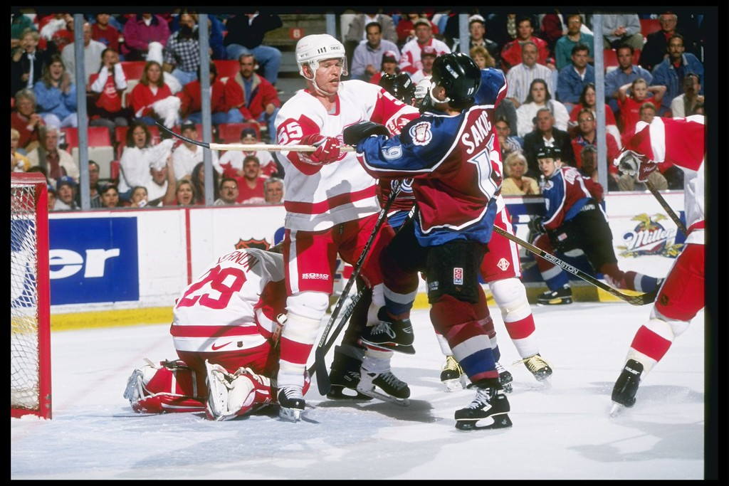 . 26 May 1997:  Several players tangle up during a playoff game between the Detroit Red Wings and the Colorado Avalanche at the Joe Louis Arena in Detroit, Michigan.  The Red Wings won the game, 3-1.Robert Laberge  /Allsport