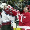 Detroit Red Wings #15 Pat Verbeek punches Colorado Avalanche Joe Sakic in the face during the first period at Pepsi Center. THE DENVER POST/JOHN LEYBA 2001