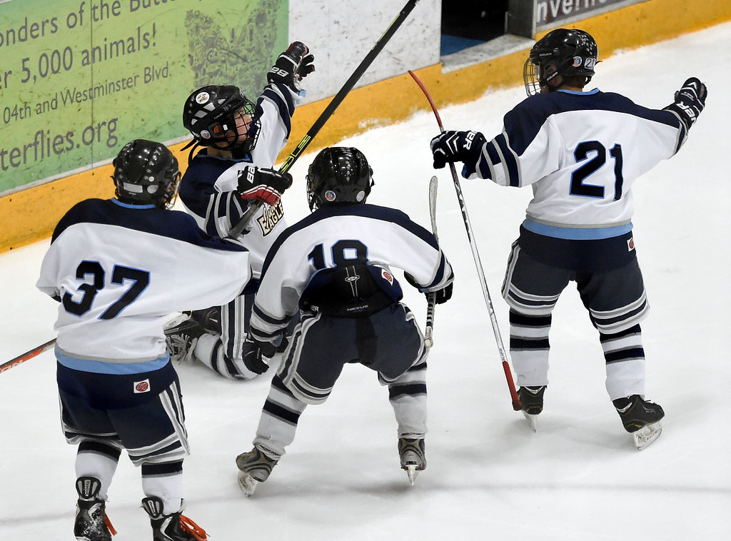 . Carson Forker (3) celebrates on his knees his game winning goal on a power play against the Pioneers at 11:53 of the third  period. The Eagles defeated the Pioneers 4-3 to capture the CCYHL Squirt A Governors Championship. February 21, 2016 at the Ice Center at the Promenade. (Photo By John Leyba/The Denver Post)