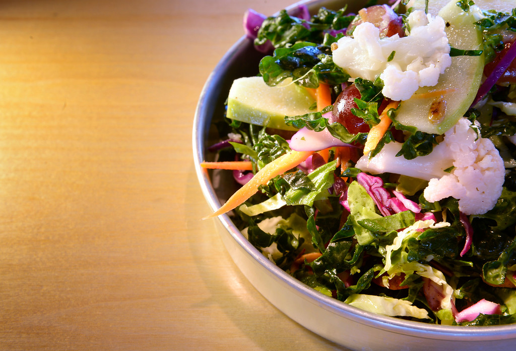 . The kale salad at the GoodBird Kitchen,  a new restaurant in Longmont, CO on Thursday, February 25, 2016.  It is a supreme casual comfort food kinda place and is located at 1258 S. Hover Road in Longmont. (Photo by Cyrus McCrimmon/ The Denver Post)