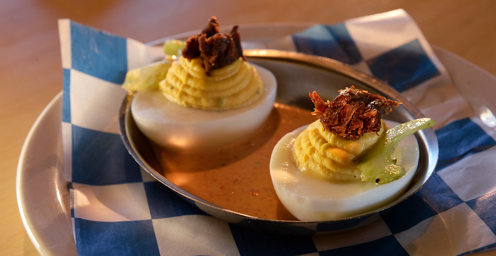 . The deviled eggs with  crispy pork cheek at the GoodBird Kitchen,  a new restaurant in Longmont, CO on Thursday, February 25, 2016. It is a supreme casual comfort food kinda place and is located at 1258 S. Hover Road in Longmont.  (Photo by Cyrus McCrimmon/ The Denver Post)