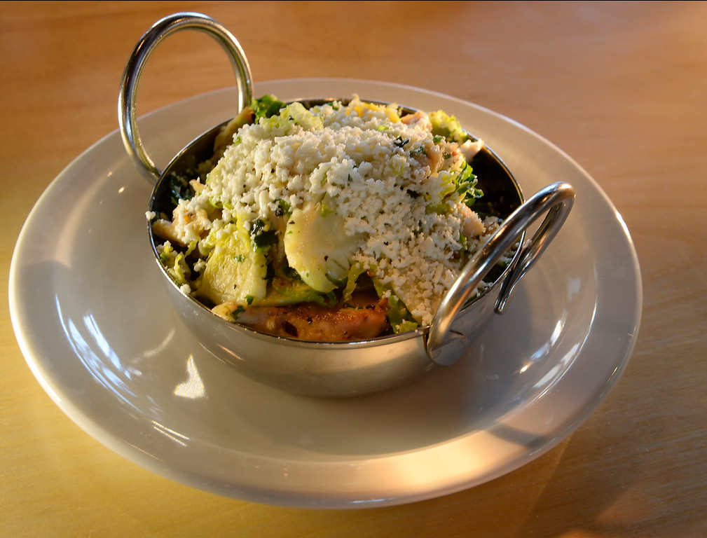 . The roasted  Brussel sprouts with chicken, poblanos and cotija at the GoodBird Kitchen,  a new restaurant in Longmont, CO on Thursday, February 25, 2016.  It is a supreme casual comfort food kinda place and is located at 1258 S. Hover Road in Longmont.  (Photo by Cyrus McCrimmon/ The Denver Post)