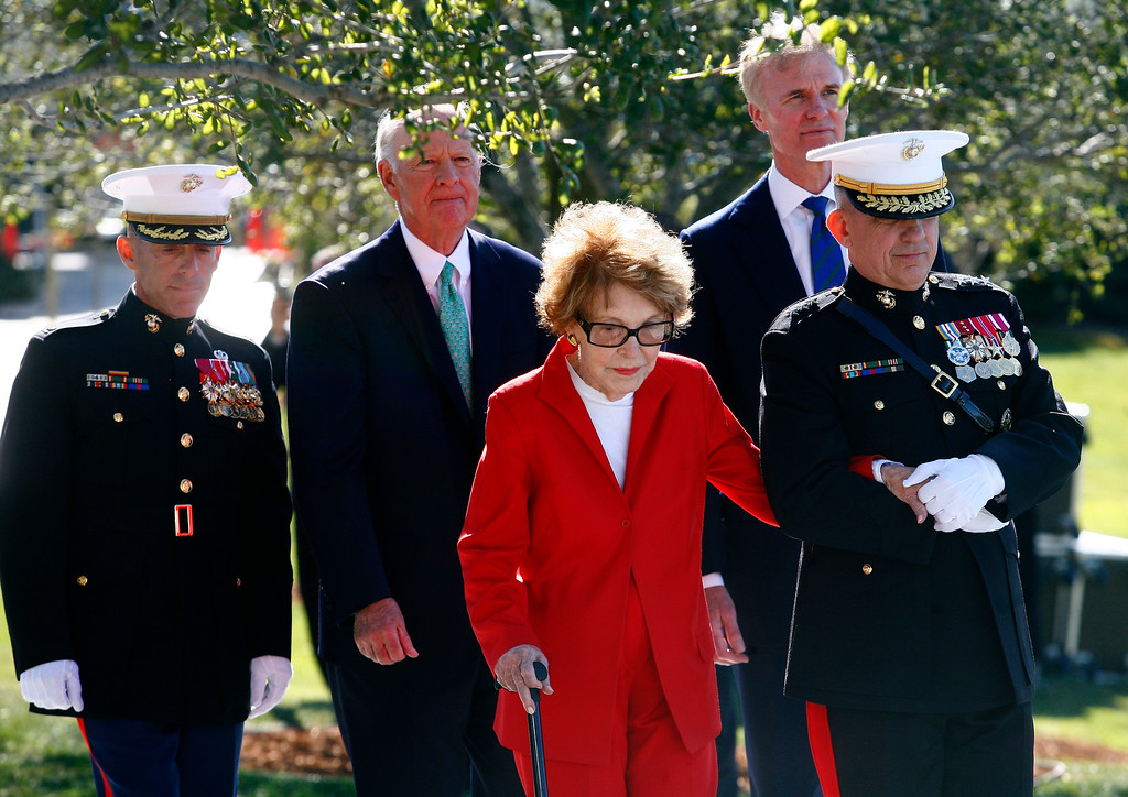 . Former first lady Nancy Reagan and former Secretary of State James Baker (2nd L) attend a birthday celebration held in honor of Ronald Reagan at the Ronald Reagan Presidential Library February 6, 2011 in Simi Valley, California. Ronald Reagan, the 40th President of the United States, would have been 100 years old on Sunday. (Photo by Eric Thayer/Getty Images)
