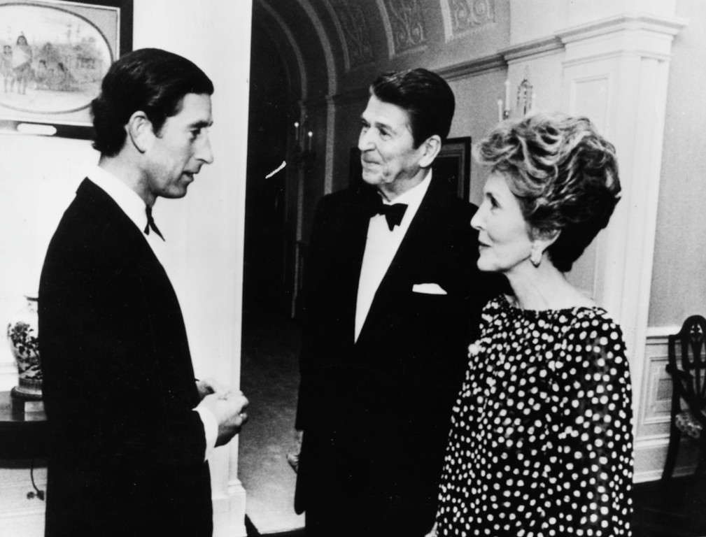 . Prince Charles (left) talking to President Ronald Reagan and his wife Nancy at a private dinner in the White House, Washington DC, May 2nd 1981. (Photo by Keystone/Hulton Archive/Getty Images)