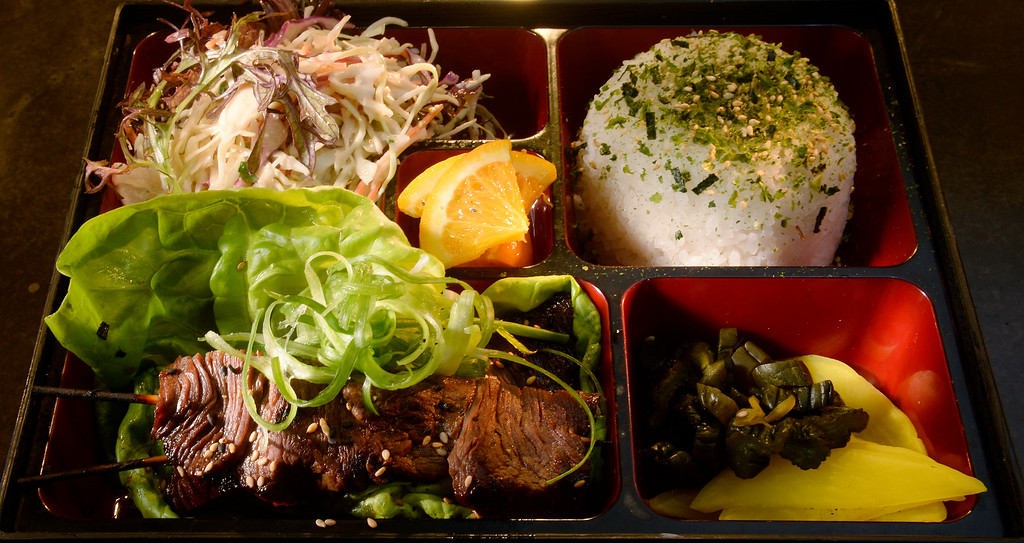 . The beef bento box with Korean beef, steamed rice, housemade pickles, and osaka ramen salad at Osaka Ramen in Denver\'s RiNo neighborhood  on Thursday June 18, 2015.  (Photo by Cyrus McCrimmon/The Denver Post )