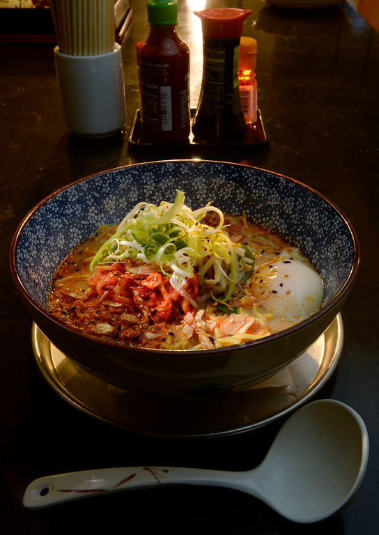 . The spicy miso ramen with pork and chicken broth, aka miso, sesame, bean sprouts, garlic, spicy pork, and a soft egg at Osaka Ramen in Denver\'s RiNo neighborhood  on Thursday June 18, 2015.  (Photo by Cyrus McCrimmon/The Denver Post )