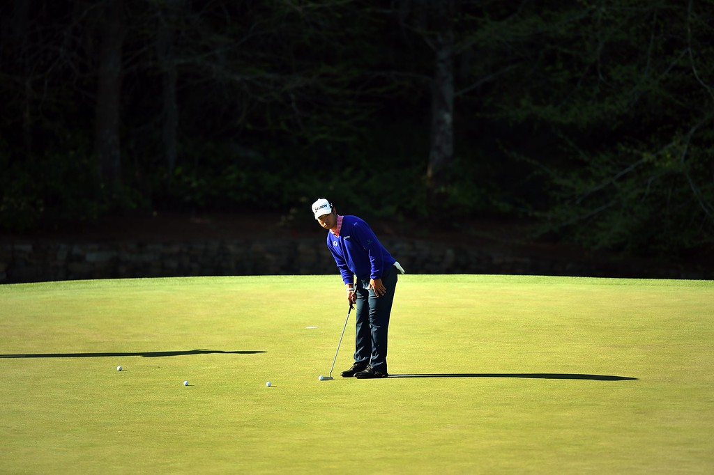 . Japan\'s Hideki Matsuyama putts during a practice round prior to the start of the 80th Masters of Tournament at the Augusta National Golf Club on April 6, 2016, in Augusta, Georgia. JIM WATSON/AFP/Getty Images