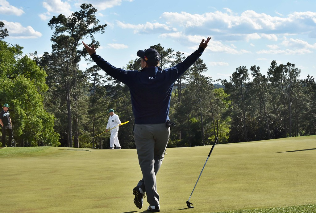 . US golfer Tom Watson reacts after playing a putt on the 18th green during Round 2 of the 80th Masters Golf Tournament at the Augusta National Golf Club on April 8, 2016, in Augusta, Georgia. The 66-year-old, eight-time major champion Tom Watson, said this will be his last Masters.   / AFP PHOTO / Nicholas  KAMM/AFP/Getty Images