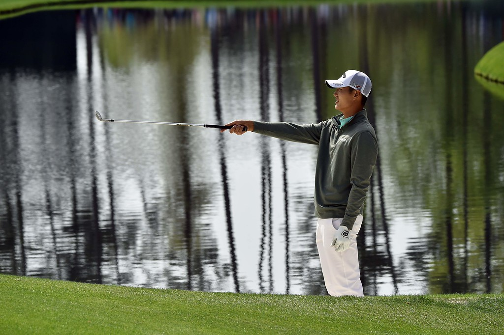 . New Zealand\'s Danny Lee lines up a shot during a practice round prior to the start of the 80th Masters of Tournament at the Augusta National Golf Club on April 6, 2016, in Augusta, Georgia.  NICHOLAS KAMM/AFP/Getty Images