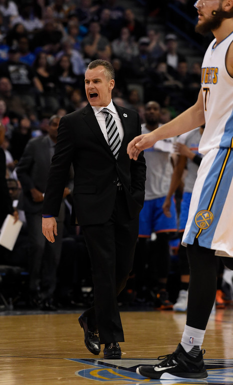 . Oklahoma City Thunder head coach Billy Donovan yells at the referee for a non call and collects a technical during the second quarter against the Denver Nuggets April 5, 2016 at Pepsi Center. (Photo By John Leyba/The Denver Post)