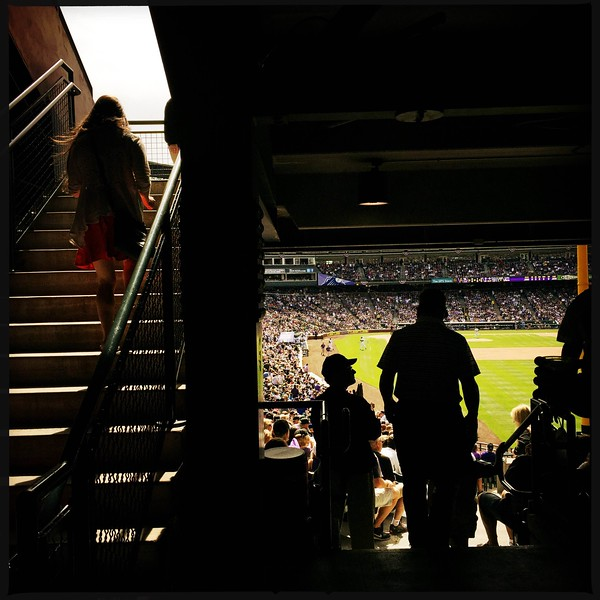 Fans watch second inning action during #rockies #openingday the right field seats. 📷 @shootsethshoot<br /> <br /> Denver post photographer Seth McConnell covered the Colorado Rockies opening day, on April 8, 2016, using the photo app Hipstamatic and publishing on Instagram.