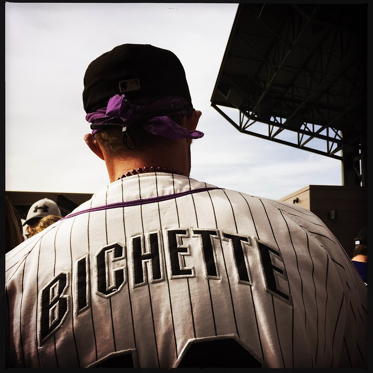 . Denver post photographer Seth McConnell covered the Colorado Rockies opening day, on April 8, 2016, using the photo app Hipstamatic and publishing on Instagram.