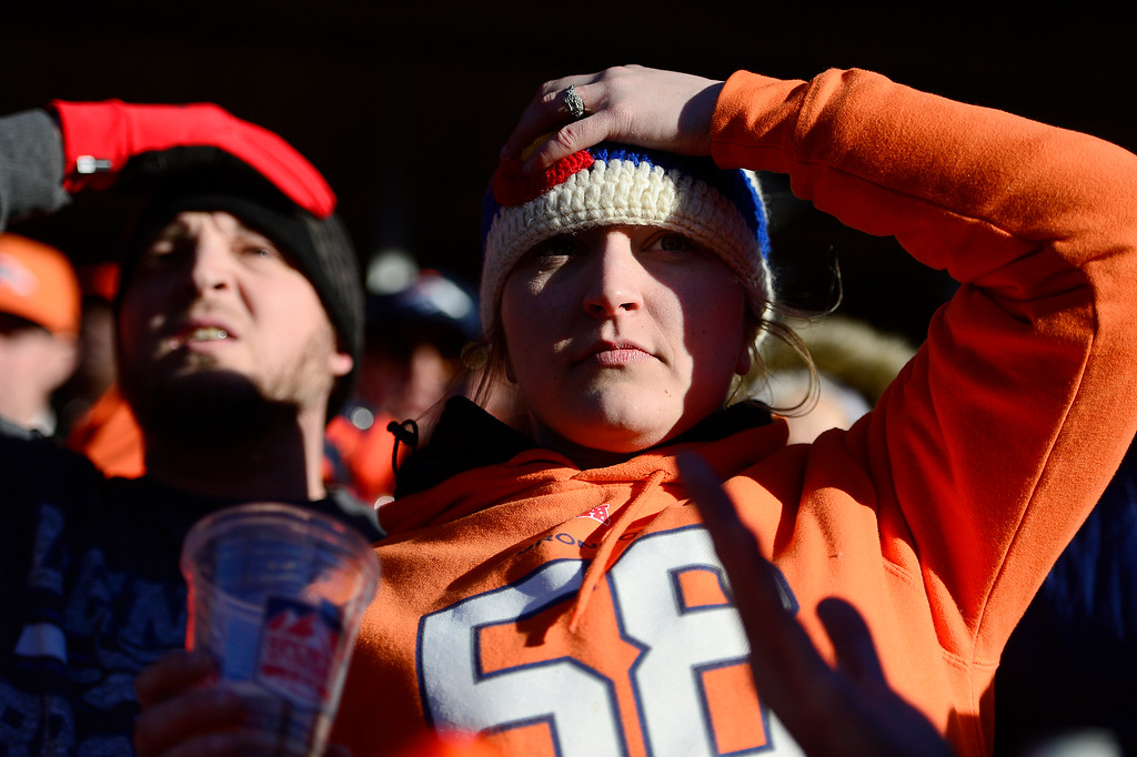 . Morgan Barnes, right,  puts her hand on her head after a pass was blocked that was intended for Emmanuel Sander during the second quarter at Sports Authority Field at Mile High on January 17, 2016 in Denver, Colorado. Denver Broncos take on the Pittsburgh Steelers in the AFC Divisional Playoffs. (Photo by Brent Lewis/The Denver Post)