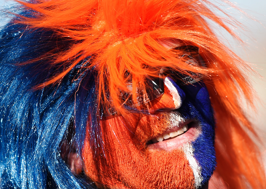 . DENVER, CO - JANUARY 17: Denver Broncos fan Mike Collins arrives at Sports Authority Field at Mile High to do some tailgating before the Broncos game, January, 17, 2016. The Denver Broncos will take on Pittsburgh Steelers during AFC division playoff game. (Photo by RJ Sangosti/The Denver Post)