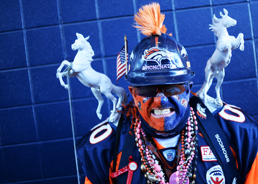 . Denver Broncos fan Chuck Devorss is all pumped up at Sports Authority Field at Mile High, January, 17, 2016. The Denver Broncos take on Pittsburgh Steelers during AFC division playoff game. (Photo by RJ Sangosti/The Denver Post)
