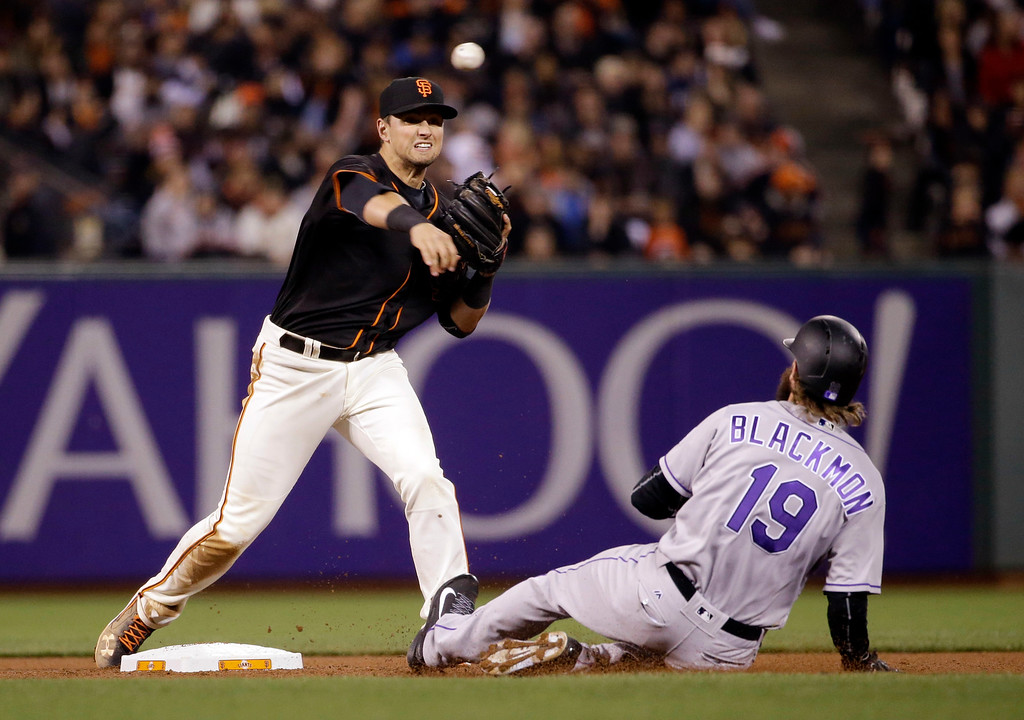 . San Francisco Giants second baseman Joe Panik, left, completes a double play over Colorado Rockies\' Charlie Blackmon (19) on a ground ball from DJ LeMahieu during the seventh inning of a baseball game Friday, May 6, 2016, in San Francisco. (AP Photo/Marcio Jose Sanchez)